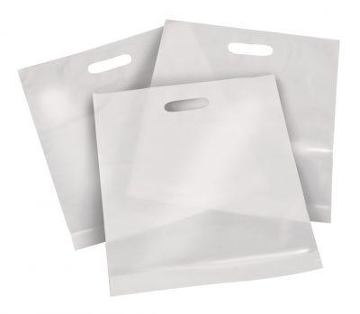 Draagtas plastiek ld 60x60 wit 60my 300 stuks