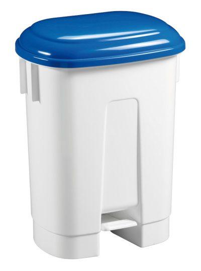 Afvalbak met pedaal blauw deksel 30l