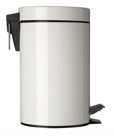 Afvalbak met pedaal 3l inox wit
